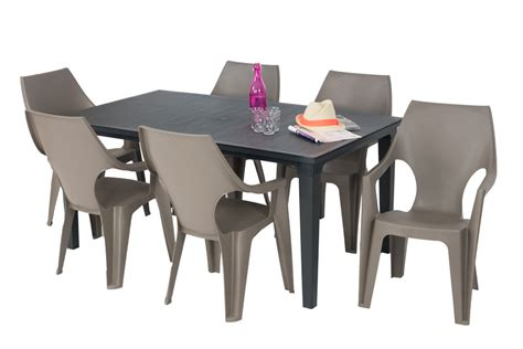salon de jardin table futura graphite 6 fauteuils ibiza