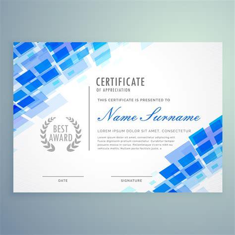 modern certificate template  blue mosiac shapes