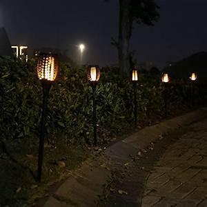 Aiceda solar lights waterproof flickering flames torches