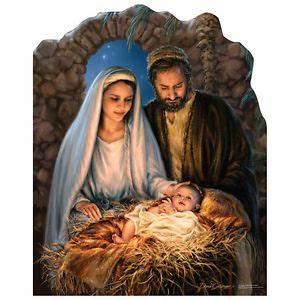 NATIVITY SCENE Christmas Mary Joseph Baby Jesus CARDBOARD ...