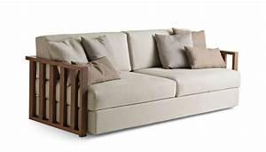 Divano 2 posti, in legno massello, sfoderabile, per salotto IDFdesign