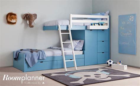 d馗o chambre enfants chambre d 39 enfant bleue avec lits superposés design et rangements