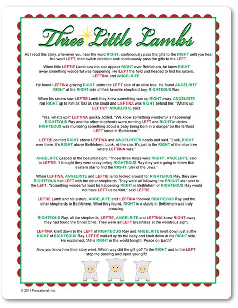 left right across gift exchange story printable right left three lambs stuff to try lambs third and gaming