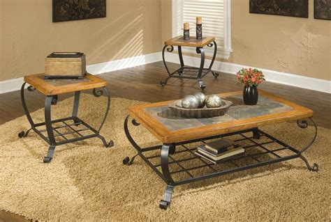 3pc ocassional table set w slate inlays decorative metal