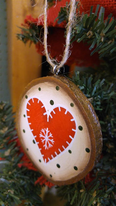 red nordic heart ornament wood slice ornament  weed patch