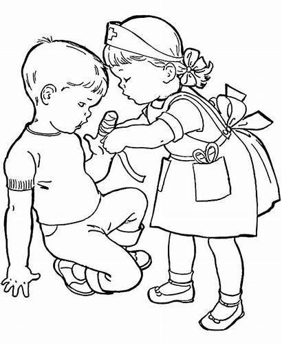 Helping Coloring Others Pages Drawing Bandage Put