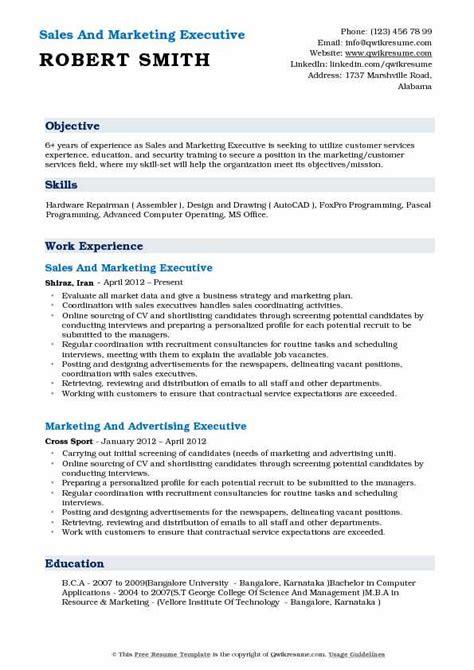sales and marketing executive resume sles qwikresume