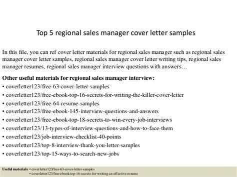 Regional Manager Cover Letter by Top 5 Regional Sales Manager Cover Letter Sles