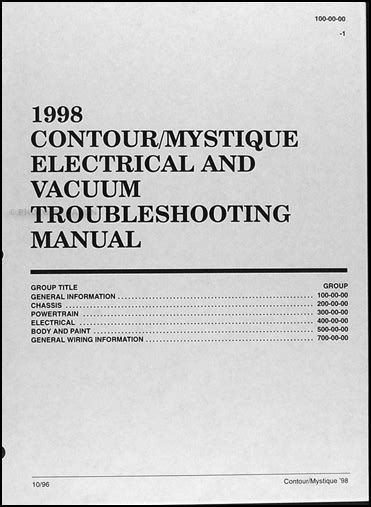 online auto repair manual 1998 mercury mystique spare parts catalogs 1998 ford contour mercury mystique electrical troubleshooting manual 98 wiring ebay