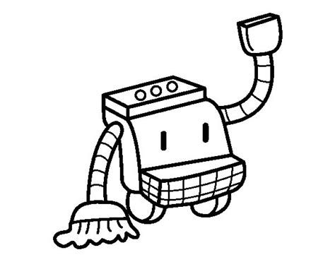 Cleaning Robot Coloring Page