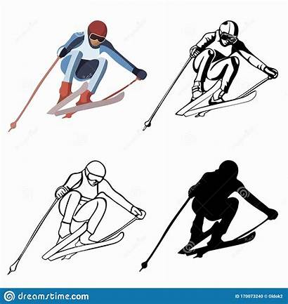 Skier Drawing Action Clipart