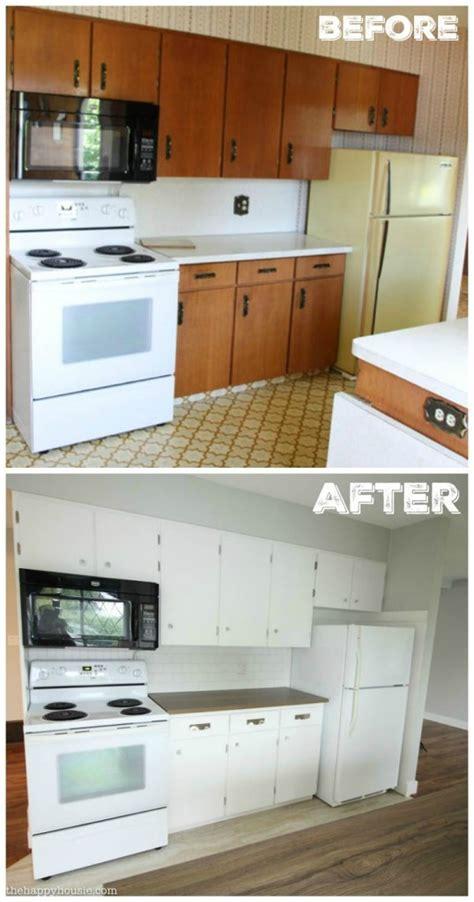 white kitchen cabinet makeover thrifty budget white kitchen makeover reveal the 1343