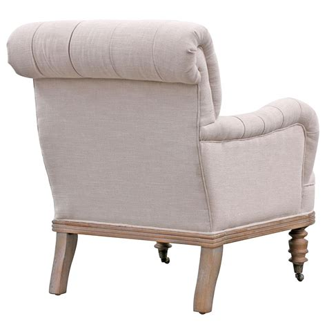 country tufted linen rolled back arm chair