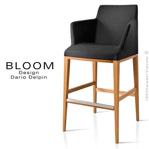 chaise de bar avec dossier tabouret de bar lounge bloom structure bois vernis assise et dossier garnis habillage tissu