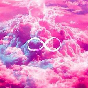Girly Infinity Symbol Bright Pink Clouds Sky Art Print ...