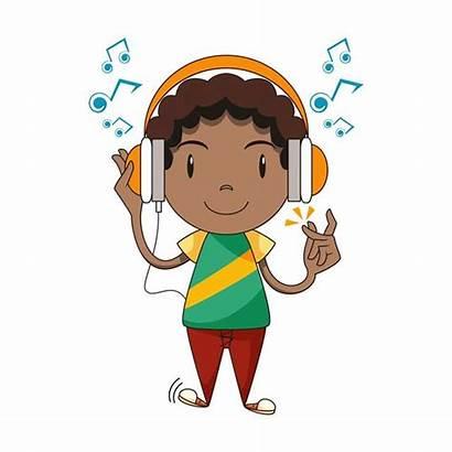 Listening Vector Clip Child Cartoon Headphones Write