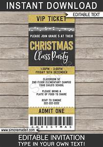 Ticket Printing Templates Gold Christmas Party Ticket Invitations Printable