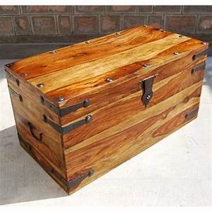 Solid wood dallas trunk coffee table with wrought iron for Small storage trunk coffee table
