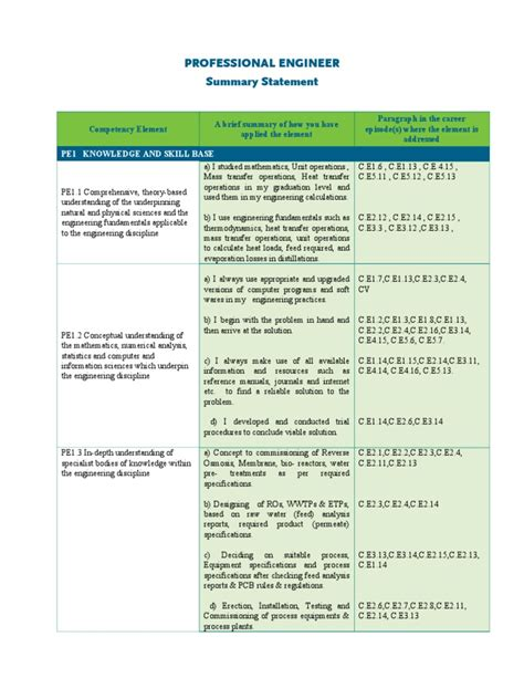 professional engineer summary statement 2