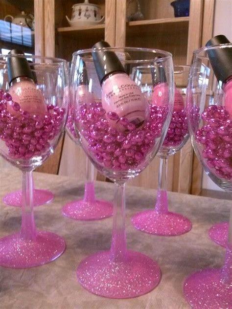 Bachelorette Party Favors Nail Polish Glitter Wine Glass