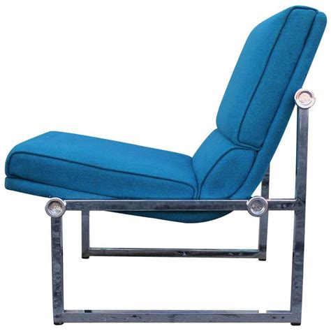 pair of modern chrome base knoll slipper lounge chairs