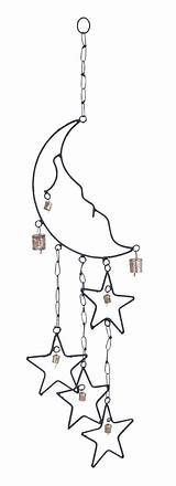 Wind Moon Chimes Stars Chime Windchime Metal Outdoor Decor Star Chain Link Aesthetic Rustic sketch template