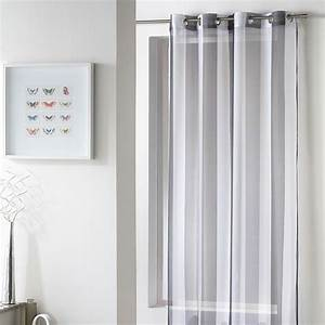 Rideau Voilage Gris : rideau voilage riviera 140x240cm blanc gris ~ Preciouscoupons.com Idées de Décoration