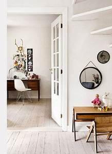 Bureau Scandinave Blanc : bureau salon d co scandinave parquet blanchi murs blanc ~ Teatrodelosmanantiales.com Idées de Décoration