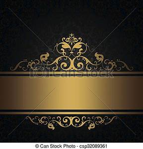 Black vintage background with gold border Dark vintage