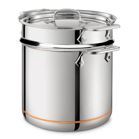 clad copper core pasta pentola stock pot  insert  quart cutlery