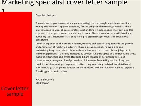 cover letter online marketing specialist