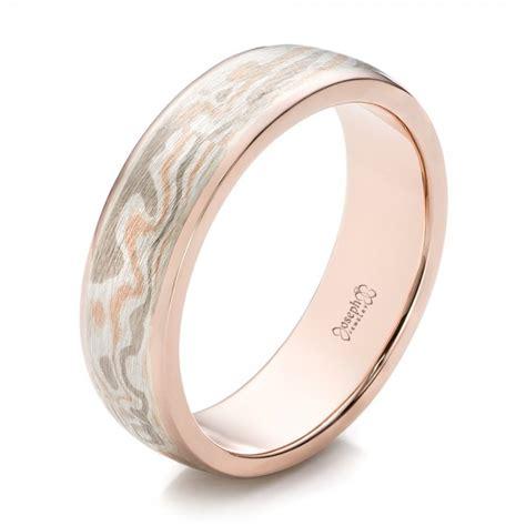 custom men s rose gold and mokume wedding band 101261
