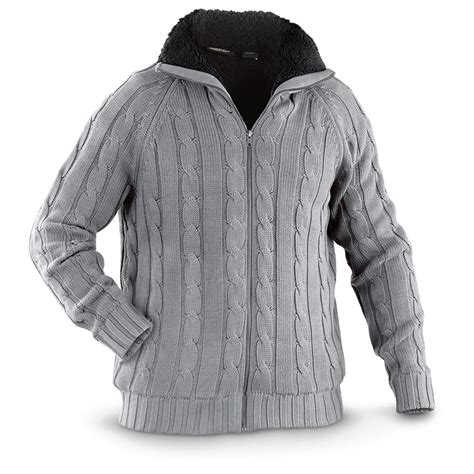 sherpa sweater guide gear sherpa lined cable knit sweater 593669