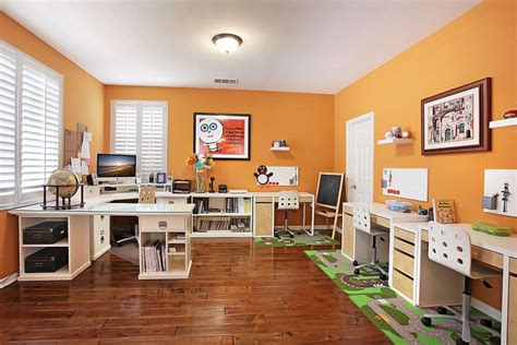 white wall shelves trend 25 vibrant home offices with bold orange brilliance