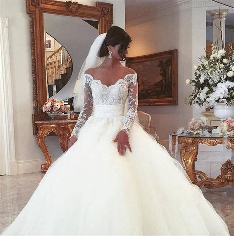 Off Shoulder Long Sleeves Ball Gown Wedding Dress 2018