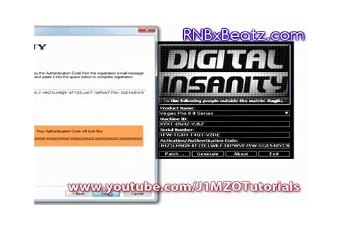 sony vegas serial number and authentication code