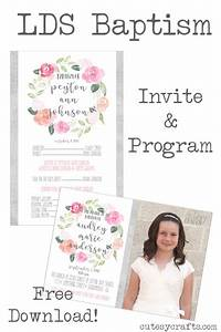 Baptismal Invitation Template Free Download Free Lds Baptism Program Template Cutesy Crafts