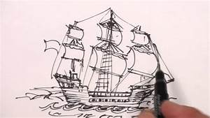 How to Draw a Pirate Ship Step-by-Step Easy Drawing Lesson ...