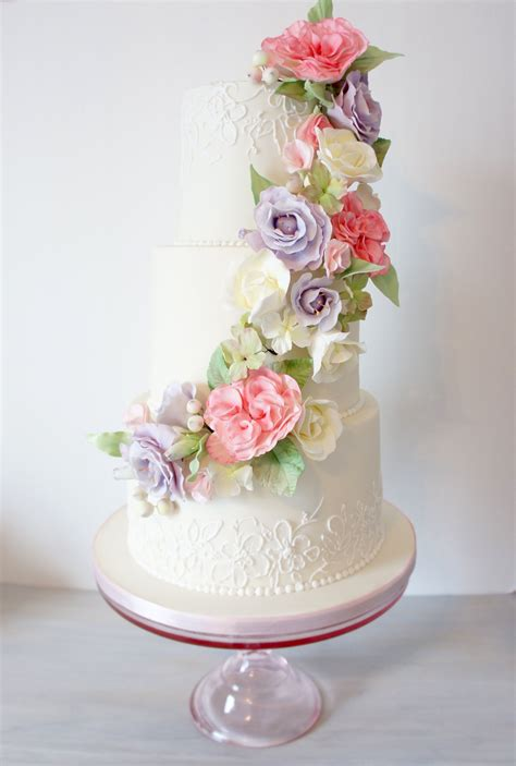 spring sugar flowers wedding cake  floral cascade