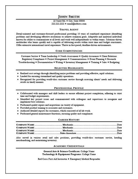 Tourism Resume Format by Resume Exles Travel Consultant