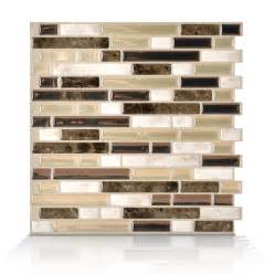 shop smart tiles white beige brown composite vinyl mosaic subway peel and stick wall tile