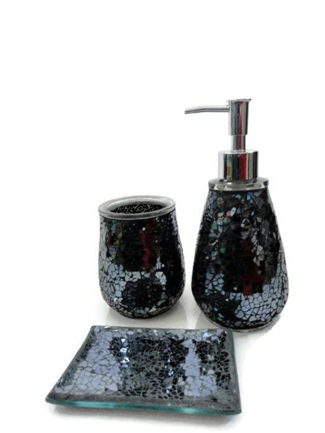 Black Crackle Glass Bathroom Accessories black mosaic crackle glass bathroom accessory set tumbler