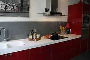 davausnet cuisine rouge et rose avec des idees With idee deco cuisine avec cuisine orange et gris