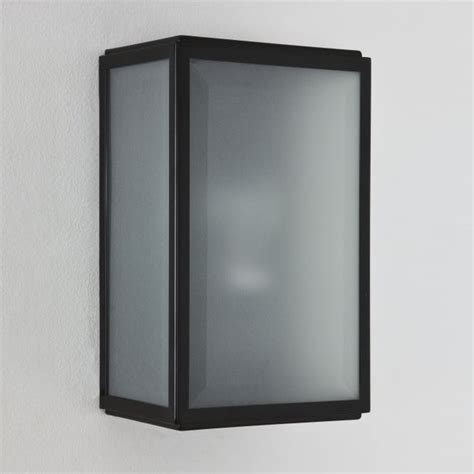 astro 1095008 homefield outdoor black frosted box wall light ideas4lighting