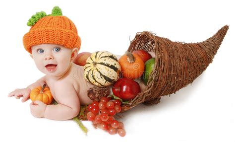 fall thanksgiving baby   cornucopia stock photo image