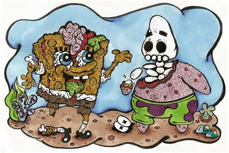 Zombie Spongebob And Patrick Art Print By Mikey's