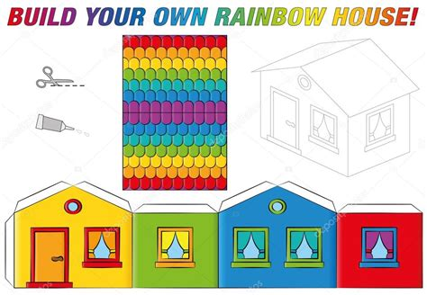 Paper Model House Template Rainbow Colors — Stock Vector