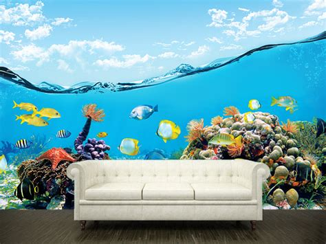 wall sticker mural sea underwater decole poster