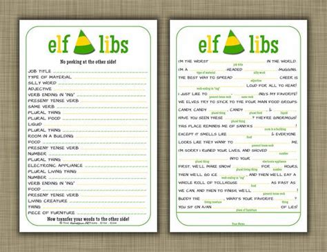 Elf Movie Quotes Christmas Mad Libs