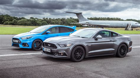 top gear drag races ford mustang  ford focus rs top gear